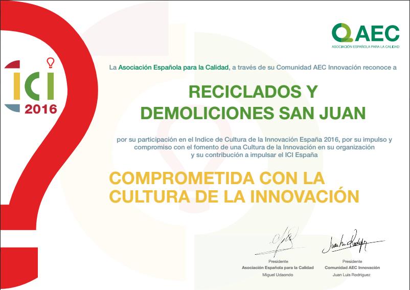 Diploma a la cultura de la innovación otorgado a Reciclados y Demoliciones San Juan